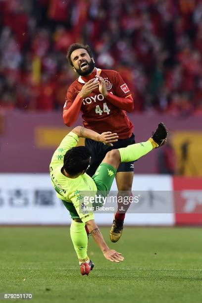 Gabriel Xavier of Nagoya Grampus and Yuto Sato of JEF United Chiba compete for the ball during the JLeague J1 Promotion PlayOff semi final match...