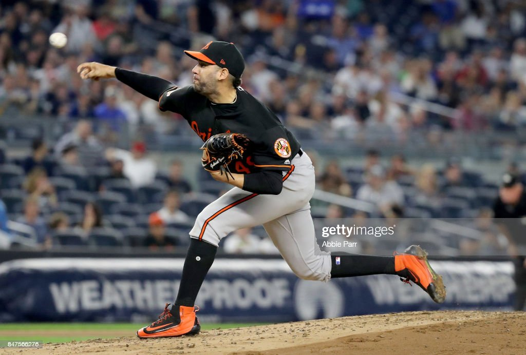 Gabriel Ynoa #49 of the Baltimore Orioles delivers a pitch in the first inning against the New York Yankees on September 15, 2017 at Yankee Stadium in the Bronx borough of New York City.