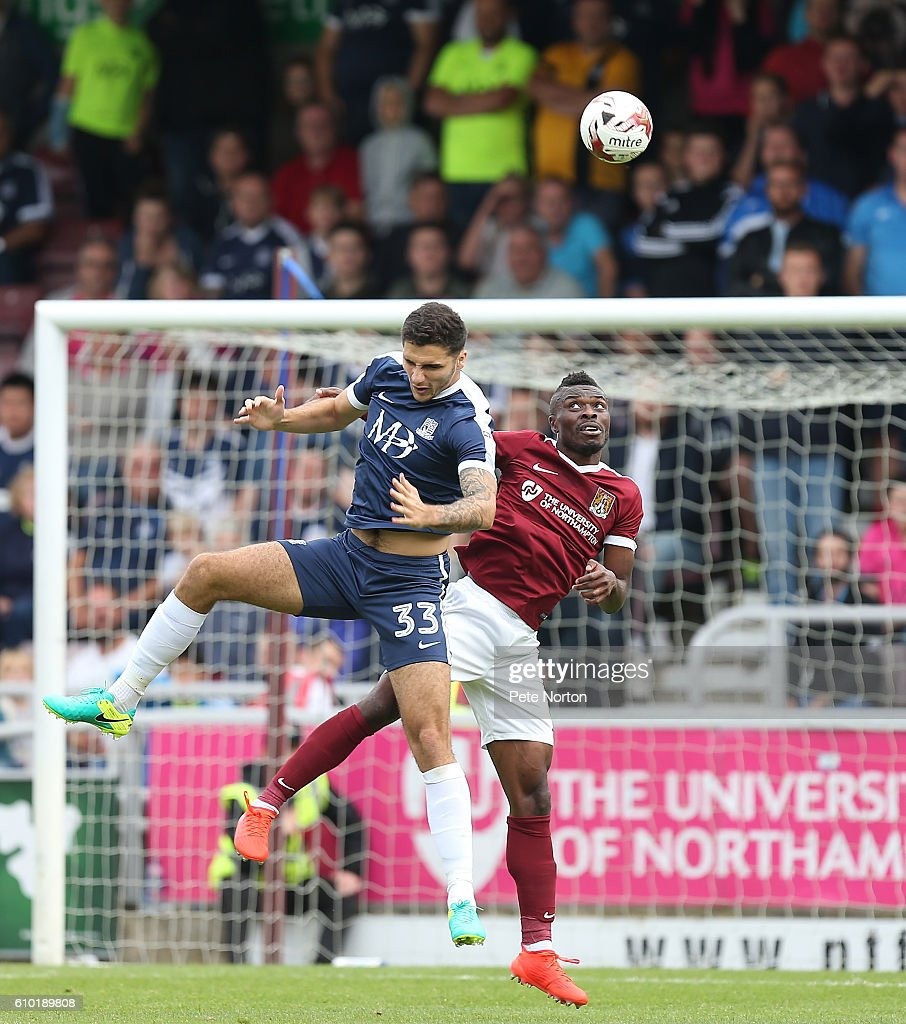 Gabriel Zakuani of Northampton Town contests the ball with Ryan Inniss of Southend United during the Sky Bet League One match between Northampton Town and Southend United at Sixfields on September 24, 2016 in Northampton, England.