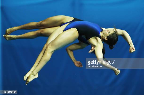 Gabriela Agundez Garcia and Alejandra Orozco Loza of Mexico compete during the Preliminary round of the Women's 10m Synchro Platfrom on day three of...