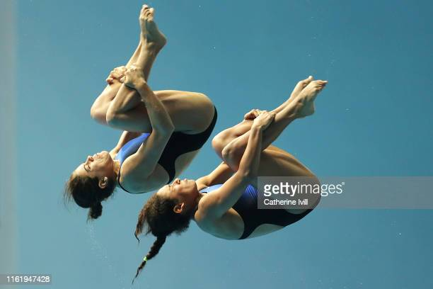 Gabriela Agundez Garcia and Alejandra Orozco Loza of Mexico compete in the Women's 10m Synchro Platform Final on day three of the Gwangju 2019 FINA...