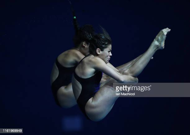 Gabriela Agundez Garcia and Alejandra Orozco Loza of Mexico compete during the final of the Women's 10m Synchro Platfrom on day three of the Gwangju...