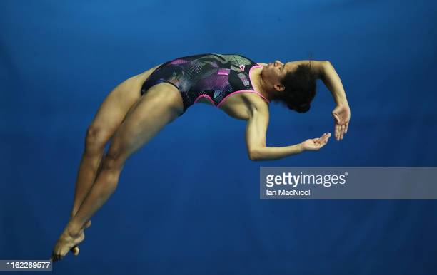Gabriela Agundez Garcia of Mexico competes in the preliminary round of the Women's 10m Platform diving during day five of the Gwangju 2019 FINA World...
