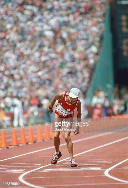 Gabriela Andersen-Schiess of Switzerland finishes the first Women's Marathon of the Olympic Games on August 5, 1984 in Los Angeles, California....