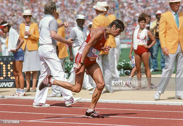 Gabriela AndersenSchiess of Switzerland finishes the first Women's Marathon of the Olympic Games on August 5 1984 in Los Angeles California Schiess...
