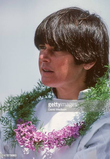 Gabriela Andersen-Schiess of Switzerland receives her award for winning the women's Masters division of the Bloomsday Run held on May 5, 1985 in...