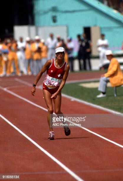 Gabriela Andersen-Schiess, Women's Track marathon competition, Memorial Coliseum, at the 1984 Summer Olympics, August 5, 1984.