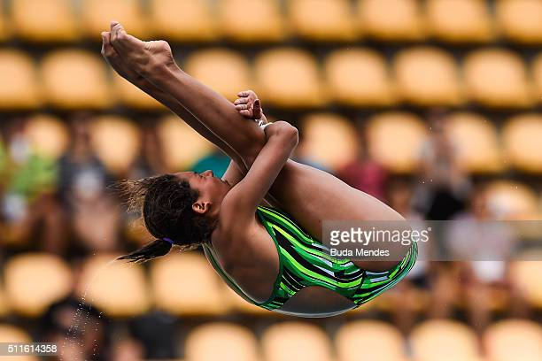 Gabriela Belem Agundez Garcia of Mexico competes in the women's 10m semifinal springboard as part of the 2016 FINA Diving World Cup at Maria Lenk...