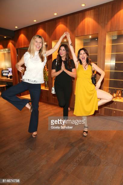 Gabriela Bozic Alexandra Polzin and Viktoria Lauterbach are doing yoga during the summer cocktail and Mizu Onsen SPA Opening at Hotel...