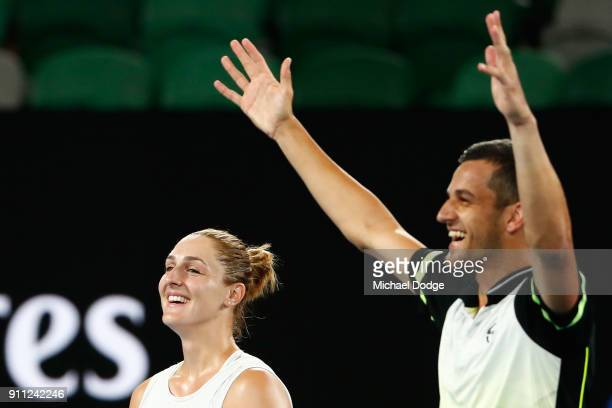 Gabriela Dabrowski of Canada and Mate Pavic of Croatia celebrate after winning the mixed doubles final against Rohan Bopanna of India and Timea Babos...