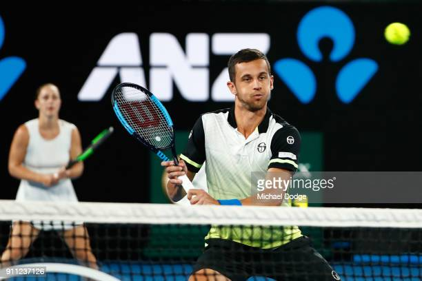 Gabriela Dabrowski of Canada and Mate Pavic of Croatia compete in the mixed doubles final against Rohan Bopanna of India and Timea Babos of Hungary...