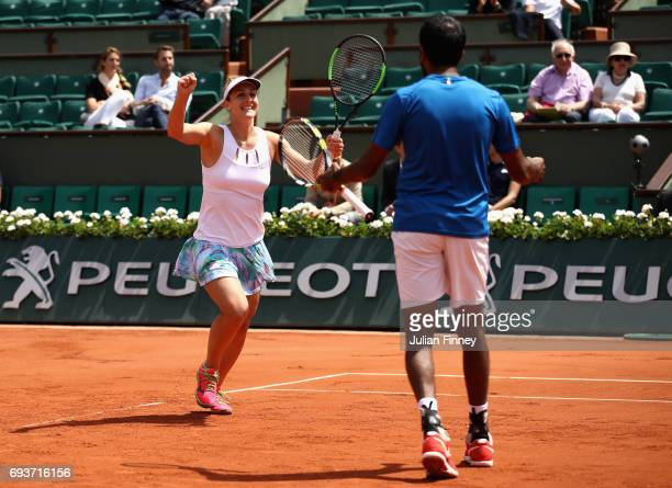 Gabriela Dabrowski of Canada and Rohan Bopanna of India celebrate victory in the mixed doubles final against AnnaLena Groenefeld of Germany and...
