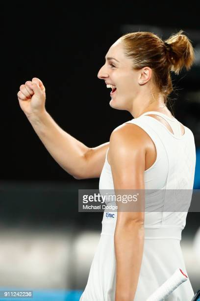 Gabriela Dabrowski of Canada celebrates after winning the mixed doubles final with Mate Pavic of Croatia against Rohan Bopanna of India and Timea...
