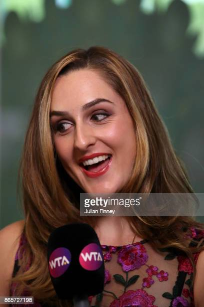 Gabriela Dabrowski of Canada is interviewed during day 3 of the BNP Paribas WTA Finals Singapore presented by SC Global at Singapore Sports Hub on...