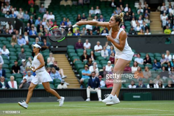 Gabriela Dabrowski of Canada, playing partner of Yifan Xu of China plays a forehand in their Ladies' Doubles final against Su-Wei Hsieh of Taiwan,...