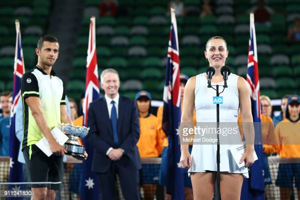 Gabriela Dabrowski of Canada speaks at the trophy presentation after she and partner Mate Pavic of Croatia won the mixed doubles final against Timea...
