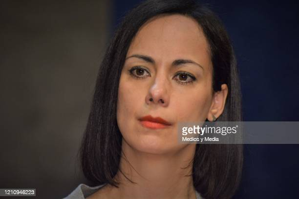 Gabriela de la Garza listens to the Media questions as part of the play 'Between Pancho Villa and a Naked Woman' at Rafael Solana Theatre on March 6...