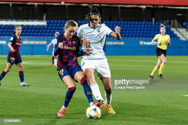 Gabriela Garcia of Deportivo Abanca competes with Caroline Graham Hansen of Fc Barcelona during the Spanish Queen Cup Copa de la Reina women football...