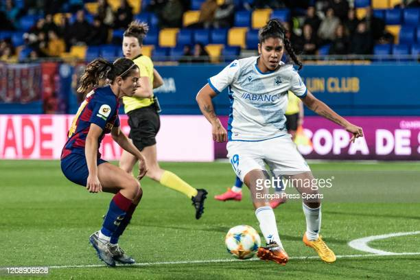 Gabriela Garcia of Deportivo Abanca in action during the Spanish Queen Cup Copa de la Reina women football match Round of 8 played between FC...