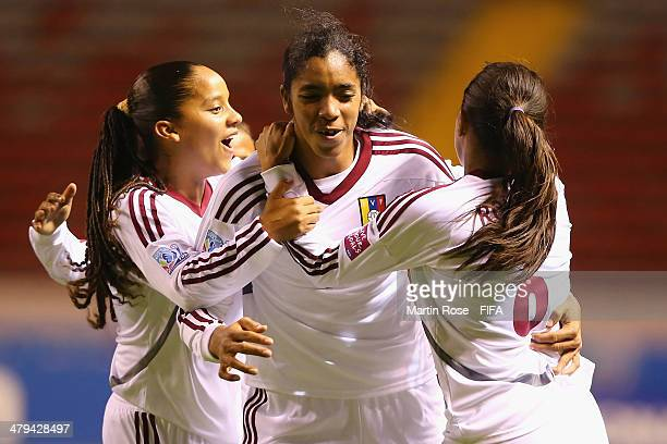 Gabriela Garcia of Venezuela celebrate with her team mates after scoring the 2nd goal during the FIFA U17 Women's World Cup 2014 group A match...