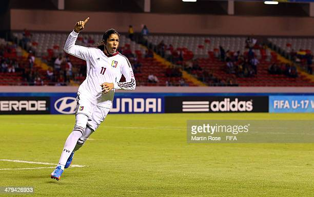 Gabriela Garcia of Venezuela celebrates after scoring the 2nd goal during the FIFA U17 Women's World Cup 2014 group A match between Venezuela and...