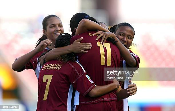 Gabriela Garcia of Venezuela celebrates after scoring the 3rd goal during the FIFA U17 Women's World Cup 2014 quarter final match between Venezuela...