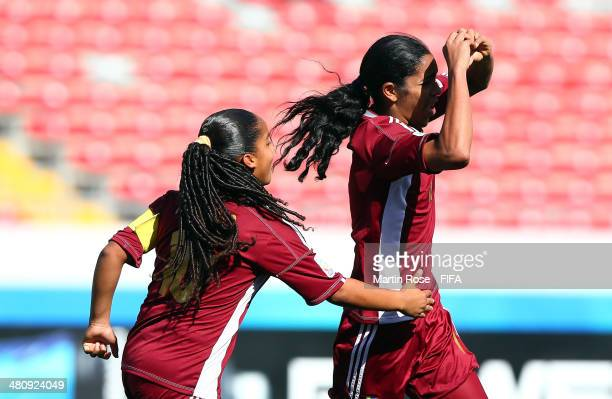 Gabriela Garcia of Venezuela celebrtes after scoring the 3rd goal during the FIFA U17 Women's World Cup 2014 quarter final match between Venezuela...