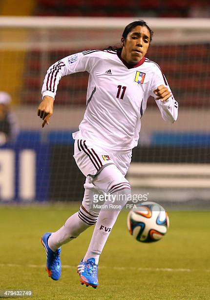 Gabriela Garcia of Venezuela runs with the ball during the FIFA U17 Women's World Cup 2014 group A match between Venezuela and Zambia at Estadio...