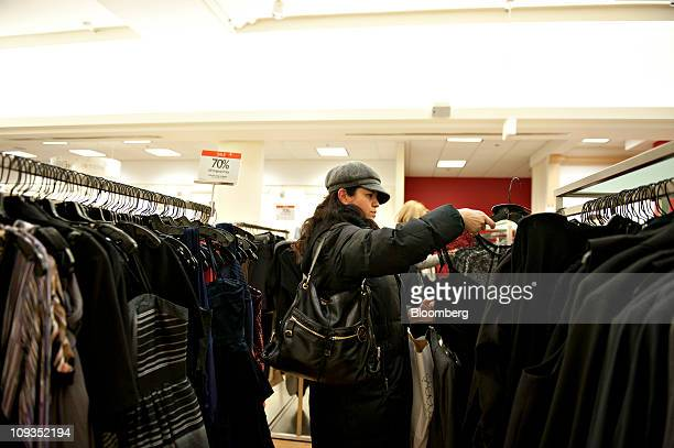 Gabriela Garcia shops at a Macy's store in Chicago Illinois US on Tuesday Feb 22 2011 Macy's Inc the secondbiggest US departmentstore chain reported...