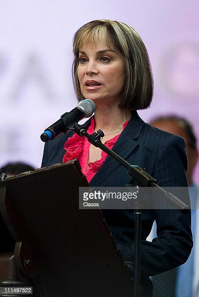 Gabriela Goldsmith at the homage to John Paul II pope who died on April 2 at Azteca Stadium on April 2 2011 in Mexico City Mexico
