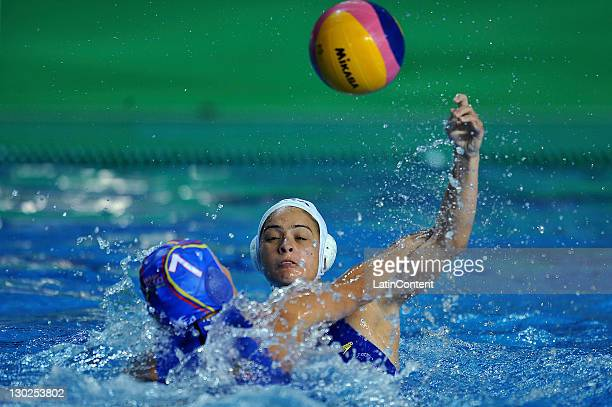 Gabriela Gozani of Brazil in the Women's Waterpolo Match in the 2011 XVI Pan American Games at Scotiabank Aquatic Center on October 25 2011 in...