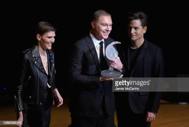 Gabriela Hearst, Stuart Vevers and Benjamin Seidler onstage at the Lincoln Center Fashion Gala - An Evening Honoring Coach at Lincoln Center Theater...
