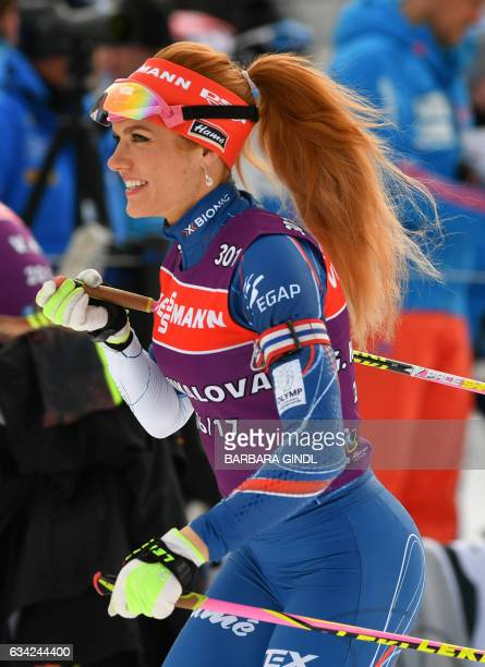 Gabriela Koukalová of the Czech Republic takes part in a training session at the biathlon stadion in Hochfilzen, Austria, on February 8 on the eve of...