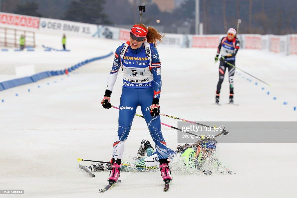 Gabriela Koukalova of Czech Republic competes in the Women's 4x6km relay during the BMW IBU World Cup Biathlon 2017, test event for PyeongChang 2018 Winter Olympic Games, at Alpensia Biathlon Centre on March 5, 2017 in Pyeongchang-gun, South Korea.