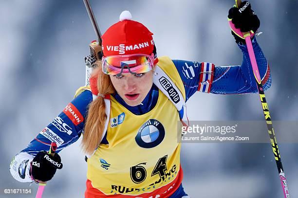 Gabriela Koukalova of Czech Republic during the IBU Biathlon World Cup Women's Sprint on January 14 2017 in Ruhpolding Germany