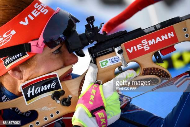 Gabriela Koukalova of Czech Republic shoots during the Women's 10 km pursuit race during the 2017 IBU World Championships Biathlon in Hochfilzen, on...