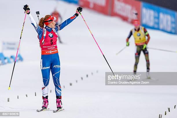 Gabriela Koukalova of Czech Republic takes 1st place during the IBU Biathlon World Cup Men's and Women's Mass Start on December 18, 2016 in Nove...