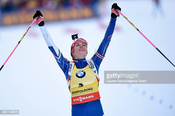 Gabriela Koukalova of Czech Republic takes 2nd place during the IBU Biathlon World Cup Men's and Women's Pursuit on January 15, 2017 in Ruhpolding,...