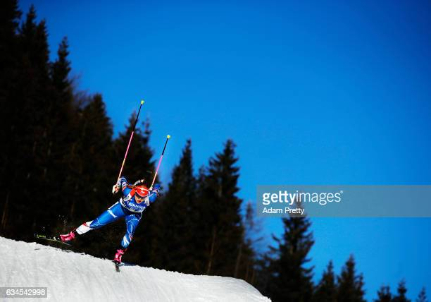 Gabriela Koukalova of the Czech Republic on her way to the gold medal in the women's 75km sprint competition of the IBU World Championships Biathlon...
