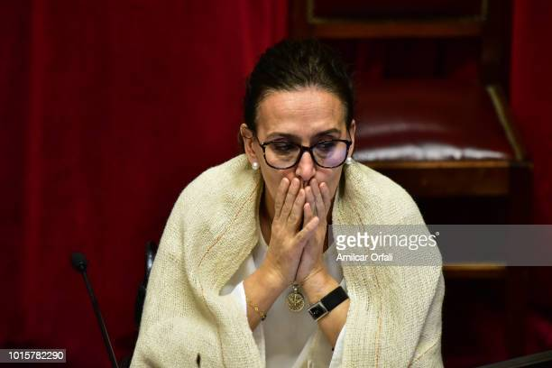 Gabriela Michetti Vice president of Argentina and President of the Senate gestures while senators vote for the new abortion law on August 8 2018 in...