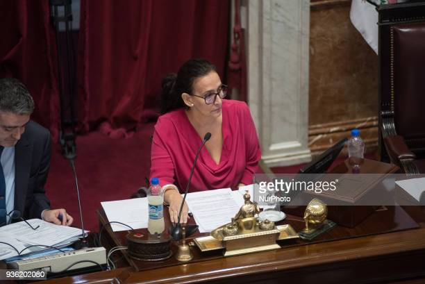Gabriela Michetti Vice President of the Argentine Nation at Argentine Parliament in Buenos Aries on 21 March 2018 talks about consideration of the...