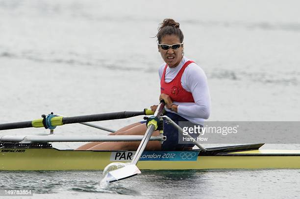 Gabriela Mosqueira Benitez of Paraguay competes in the Women's Single Sculls finals on Day 8 of the London 2012 Olympic Games at Eton Dorney on...