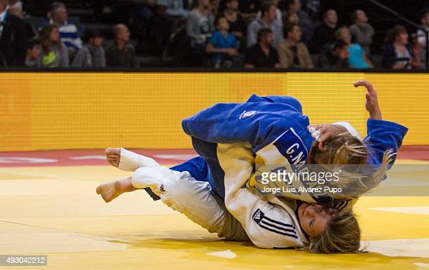 Gabriela Narvaez of Argentina competes against Telma Monteiro of Portugal during the -57kg preliminary round of the Paris Grand Slam 2015 at the...