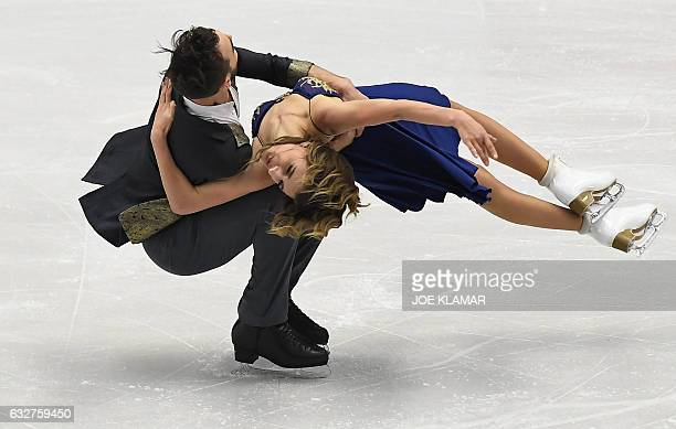 TOPSHOT Gabriela Papadakis and Guillame Cizeron of France compete during short ice dance program during the European Figure Skating Championship in...