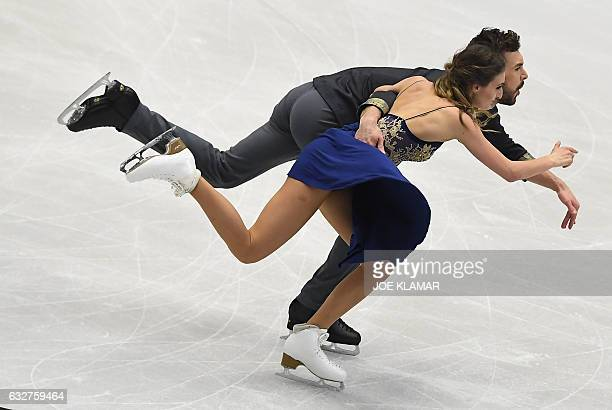 Gabriela Papadakis and Guillame Cizeron of France compete during short ice dance program during the European Figure Skating Championship in Ostrava,...