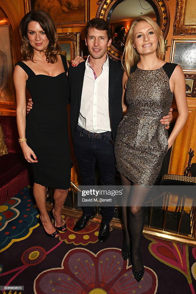 Gabriela Peacock, James Blunt and Sofia Wellesley attend the launch of GP Nutrition Supplements, a collection of five premium nutritional programmes perfect for modern living, at Annabels on January 26, 2016 in London, England.