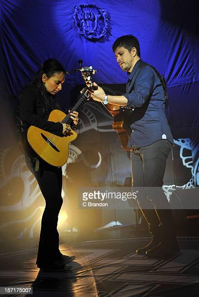 Gabriela Quintero and Rodrigo Sanchez of Rodrigo Y Gabriela perform at The Forum on November 29, 2012 in London, England.