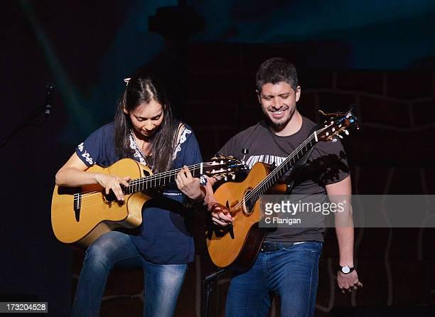 Gabriela Quintero and Rodrigo Sanchez of Rodrigo y Gabriela perform at The Masonic Auditorium on July 9, 2013 in San Francisco, California.