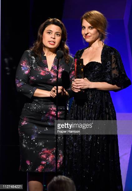 Gabriela Rodriguez and Marina de Tavira speak onstage at the 18th Annual AARP The Magazine's Movies For Grownups Awards at the Beverly Wilshire Four...