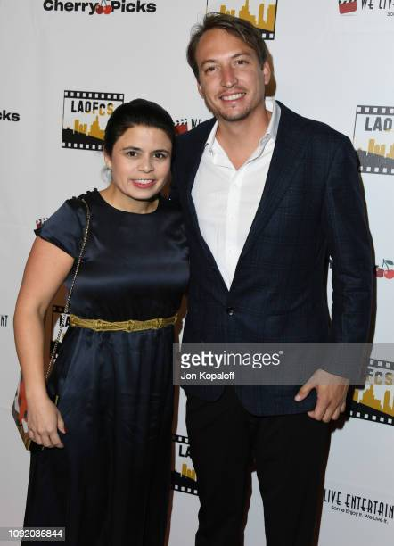 Gabriela Rodriguez and Nicolas Celis attend the 2nd Annual Los Angeles Online Film Critics Society Award Ceremony at Taglyan Cultural Complex on...
